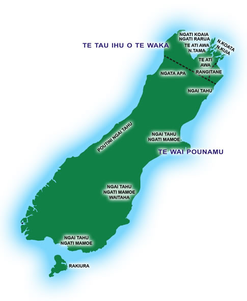 New Zealand Maori Map.Iwi South Island