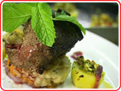 Baked Kiwifruit and Pistachio, Beef Eye Fillet