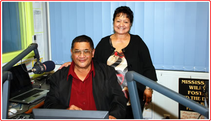 Photo of Lindsay and Hine from the Whanau Show in the studio